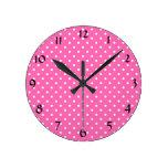Hot Pink and White Polka Dot Pattern Round Wallclock