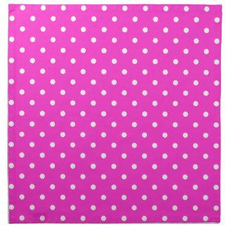 Hot pink and white polka dot pattern napkins