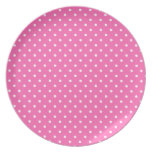 Hot Pink and White Polka Dot Pattern Plate