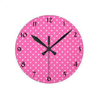 Hot Pink and White Polka Dot Pattern Round Clock