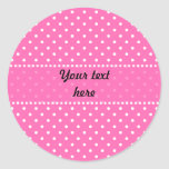 Hot Pink and White Polka Dot Pattern Round Sticker