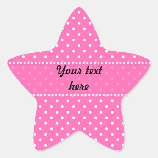 Hot Pink and White Polka Dot Pattern Star Sticker