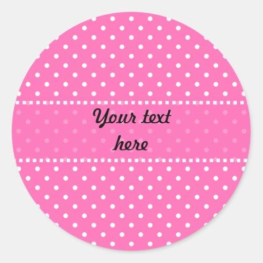 Hot Pink and White Polka Dot Pattern Round Sticker