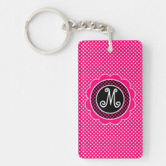 Hot Pink and White Polka Dot Pattern with Monogram Keychain