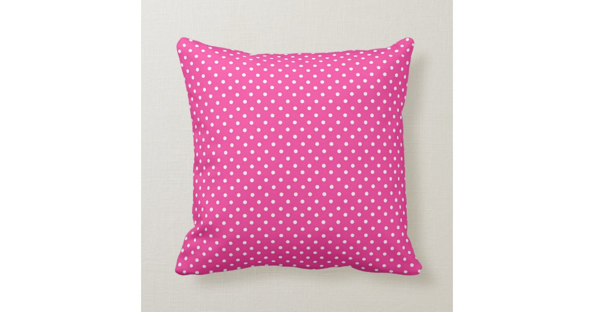 Hot Pink And White Polka Dot Throw Pillow Zazzle