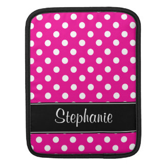 Hot Pink and White Polka Dots Personalized Sleeves For iPads