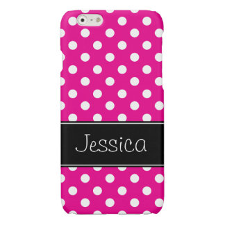 Hot Pink and White Polka Dots Personalized Glossy iPhone 6 Case