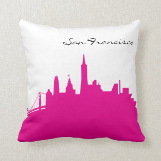 Hot Pink and White San Francisco Skyline Throw Pillow