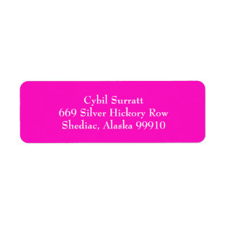 Hot Pink and White Simple Return Address Labels