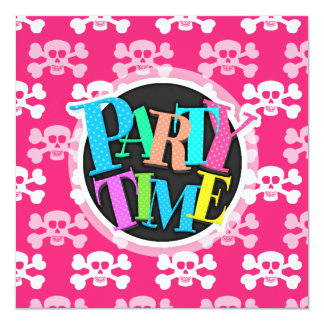 Hot Pink and White Skull and Cross Bones Card