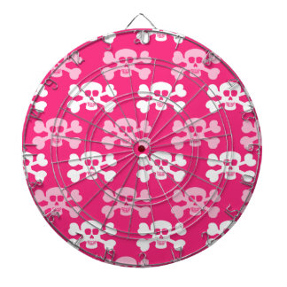 Hot Pink and White Skull and Cross Bones Dart Board