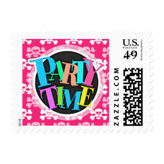 Hot Pink and White Skull and Cross Bones Postage
