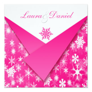 Hot Pink and White Snowflakes Wedding Invitation