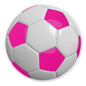 Hot Pink and White Soccer Ball Ceramic Knob