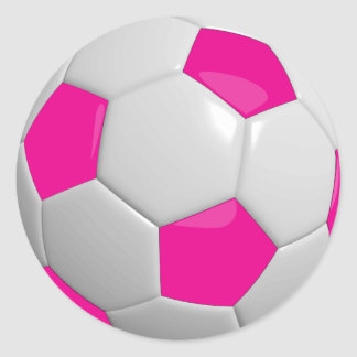 Hot Pink and White Soccer Ball Classic Round Sticker