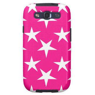Hot Pink and White Stars Galaxy S3 Case