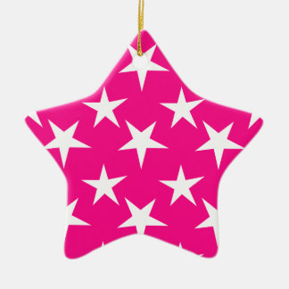 Hot Pink and White Stars Double-Sided Star Ceramic Christmas Ornament