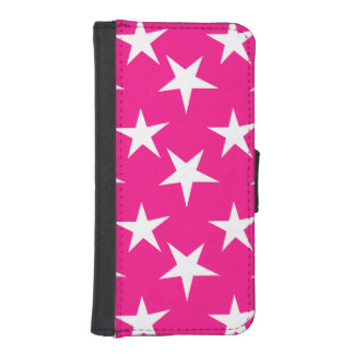 Hot Pink and White Stars iPhone 5 Wallet Cases