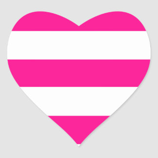 Hot Pink and white Stripes Heart Sticker