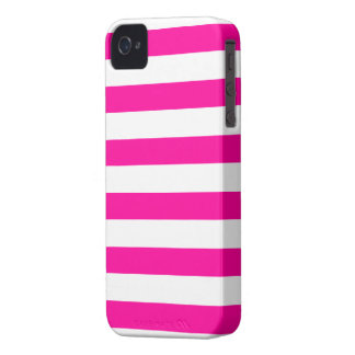 Hot Pink and White Stripes Pattern iPhone 4 Case-Mate Case