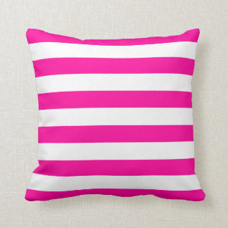 Hot Pink and White Stripes Pattern Throw Pillow