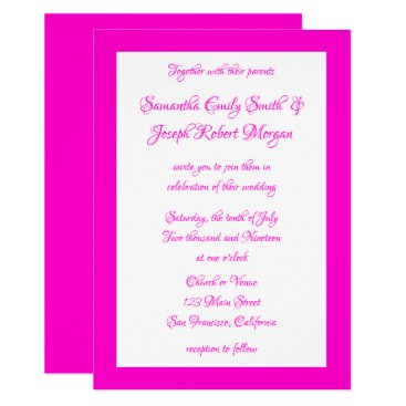 Wedding Themed Hot Pink and White Wedding Card