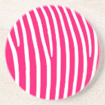 Hot Pink and White Zebra Print Coaster