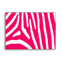 Hot Pink and White Zebra Print Envelope
