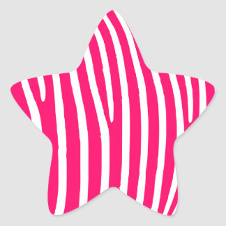Hot Pink and White Zebra Print Star Sticker