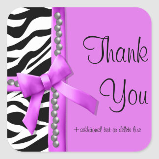 Hot Pink And White Zebra Striped With Pearls Square Sticker