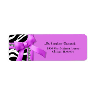 Hot Pink And White Zebra Striped With Silver Gems Return Address Labels