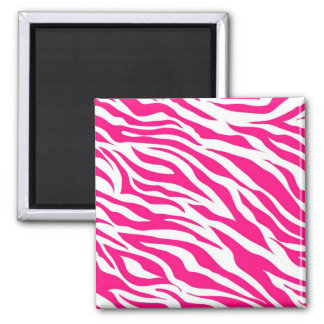 Hot Pink and White Zebra Stripes Wild Animal Print Magnet