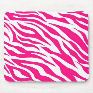 Hot Pink and White Zebra Stripes Wild Animal Print Mouse Pad