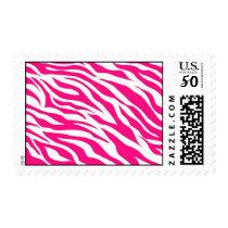 Hot Pink and White Zebra Stripes Wild Animal Print Postage