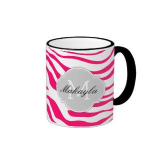 Hot Pink and White Zebra Stripes with monogram Ringer Coffee Mug