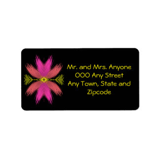 Hot Pink and Yellow Abstract Feather Medallion Label