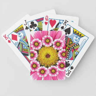 Hot Pink and Yellow Daisy Flowers Bicycle Playing Cards