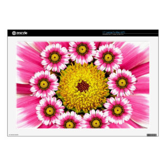 Hot Pink and Yellow Daisy Flowers Laptop Decals