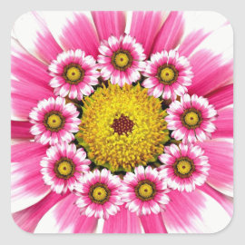 Hot Pink and Yellow Daisy Flowers Sticker