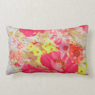 Hot pink and yellow florals pillow. pillow