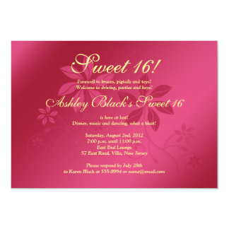 Hot Pink and Yellow Sweet 16 Birthday Invitation