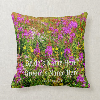 Hot Pink and Yellow Wildflowers wedding names Throw Pillows