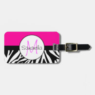 Hot Pink and Zebra Animal Print Custom Monogram Tags For Bags
