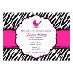 Hot Pink and Zebra Print Baby Shower Invitation