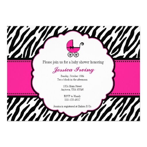 Pink Zebra Baby Shower Invitations with perfect invitations design