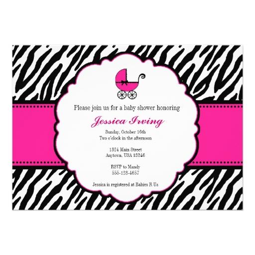 hot pink and zebra print baby shower invitation 5 x 7 invitation