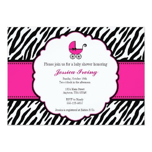 Baby Shower Zebra Boy ~ Hot pink and zebra print baby shower invitation zazzle