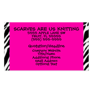 Hot Pink and Zebra Print Business Card