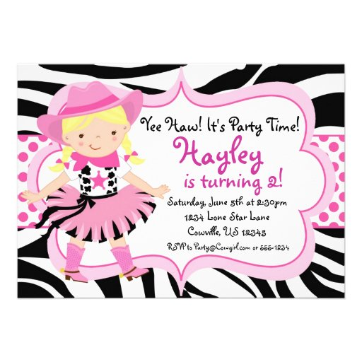 Hot Pink and Zebra Print Cowgirl Birthday Party 5x7 Paper Invitation ...