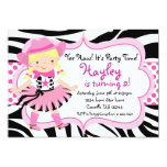 Hot Pink and Zebra Print Cowgirl Birthday Party 5x7 Paper Invitation Card